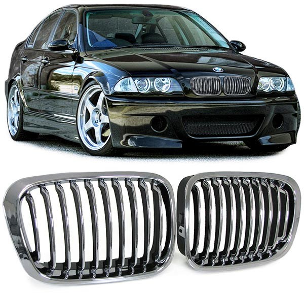 grille de calandre chrome bmw s rie 3 e46 berline phase 1. Black Bedroom Furniture Sets. Home Design Ideas