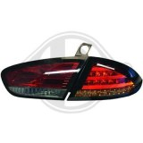 Feux arrières led pour Seat Leon 2 cristal rouge noir