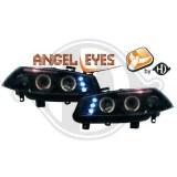 Phares avants Angel eyes pour Renault Megane 2 Noir