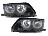 Phares avants Angel eyes pour BMW E46 Berline phase 2 Noir