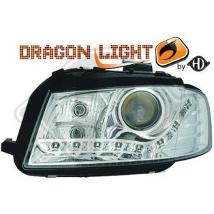 phares à LED diurnes, DragonLights, chrome A3