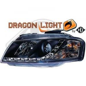 phares à LED diurnes, DragonLights, noir AUDI A3