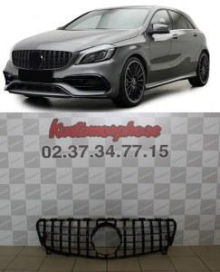 Calandre GT-R AMG full black pour Mercedes Classe A W176 2016 à 2018 facelift