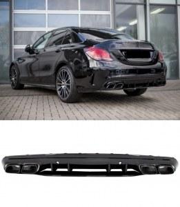 Diffuseur arrière avec échappements Noir Mercedes Classe C W205 S205 Look C63 AMG 2014-2020