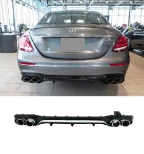 Diffuseur arrière Mercedes Classe E W213 berline Look E63 AMG sortie ronde pour pare choc amg line