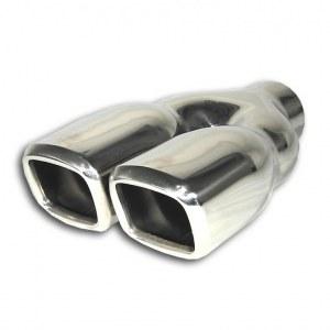 Embout d'échappement, double carré, adaptateur Y, 2 x 80x70mm, 230mm, avec absorbeur, homologation CEE