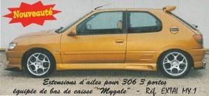"""Jeu de 4 extensions d'ailes """"Mygale"""" Esquiss'Auto pour Peugeot 306 3 portes"""