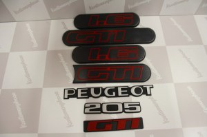 Kit Complet Monogramme Logo peugeot 205 gti 1L6 phase 2 noir