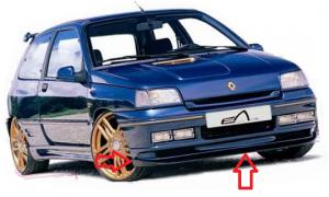 """Lame à moustaches pour pare choc avant """"OSMOSE"""" Esquiss'Auto pour Renault Clio 1"""
