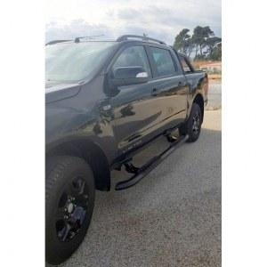 Marche pieds Latéraux Électriques En Acier Noir Pour Ford Ranger Double Cabine