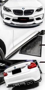 Pack 3 carbone Lame Splitter avant, Lame de bas de caisse, diffuseurs arrière avec coin, aileron BMW M2 F87