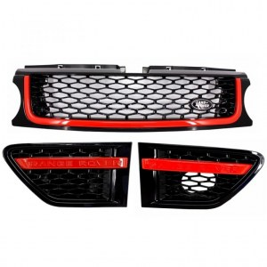 PACK CALANDRE AUTOBIOGRAPHY POUR RANGE ROVER SPORT 2010-13 Black Red Edition