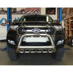 Pare buffle inox version 2 avec LED pour Ford Ranger T6 - Ø90mm