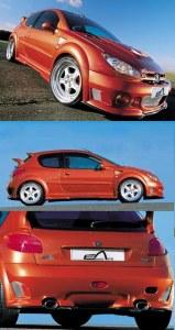 """Kit large Peugeot 206 """"IMPACT"""" 3 porte Esquiss'auto"""