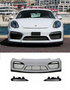 Pare choc avant Porsche Boxster et Cayman 981 look GT4 avec feux