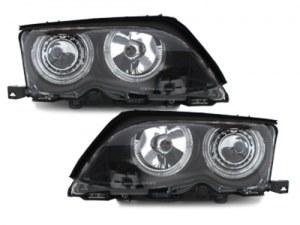Phares avants Angel eyes pour BMW E46 Berline phase 2 Noir